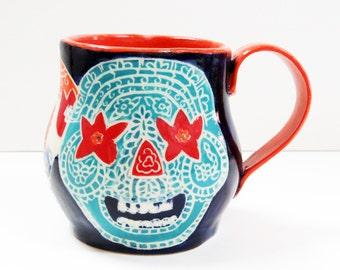 Art Pottery SUGAR SKULL Mug Sgraffito, Day of the Dead Mug, Carved Design Functional Art, Mexican Inspired,Folk Art Pottery