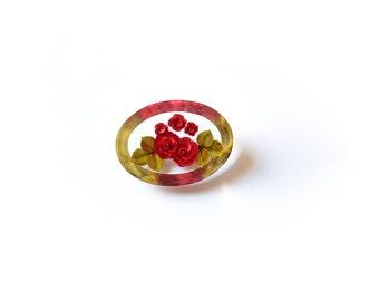 Rose brooch, lucite brooch, vintage brooch, lucite jewelry, 1950s brooch, red brooch,,50s brooch, flower brooch