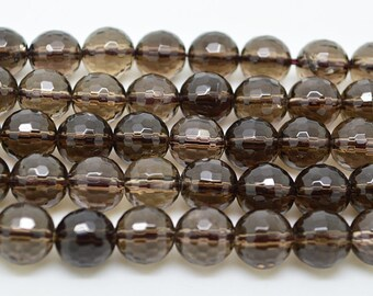 "15""  8mm  128  Faceted   Natural  Smoky  Quartz   Stone  Round  Loose  Beads"