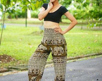 Marble Elephants Print Thai Pants, Rayon Pants, Boho Strenchy Pants, Elastic Waist Clothing Beach Women Baggy Casual Olive Color BR96779