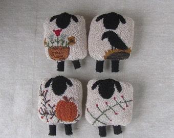 Punch Needle Pattern ~ Four Seasons of Sheep ~ Spring~Summer~Fall~Winter~folk art -punchneedle pdf pattern -needle punch e-pattern