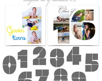 Photoshop Collage Layouts - SIMPLY STATED NUMBERS - (10) Digital Photoshop 12x12 Number Templates for Photographers & Scrapbookers.