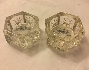2 Vintage Cambridge Hexagonal Impressed Star Paneled Open Salt Dip/Salt Cellars