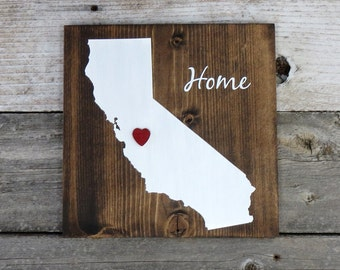 "All States Available, Rustic Hand Painted ""Home State"" Wood Sign, California State Home, Home State Pride - 9.25""x9.25"""