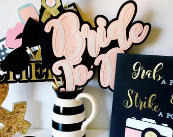 Bridal Shower Photo Booth Props | Photo Booth Props | Engagement Party Photo Booth Props | Wedding Photo Booth Props | Blush Wedding