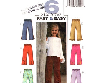 Girls Pants Pattern Butterick 3933 Very Easy Pants Slit or Ruffle Hem Trousers Girls Sewing Pattern Size 2 3 4 5 or 6 7 8 UNCUT