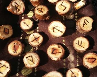 Homemade Woodburned Celtic Rune Set