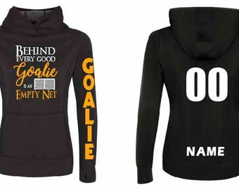 Hockey Goalie Girl Skater Dance Custom Sport Fleece Hoodie Glitter Name