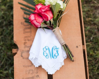 Monogrammed Handkerchief | Bridal Handkerchief | Wedding Hankie | Wedding Handkerchief | Something Blue | Bridal Hankie | Sadie