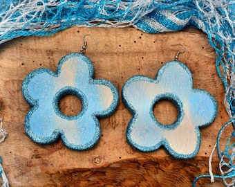 Azure flower balsa wood earrings.