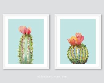 Art mural cactus, cactus estampes, décoration murale cactus, gravures aquarelle cactus, lot de 2 tirages, tous droits réservés, art mural succulentes