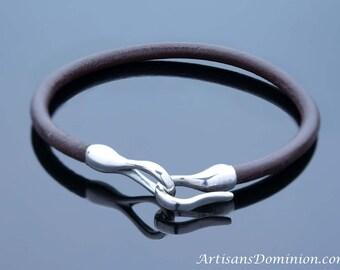 Sterling Silver Hook Bracelet, Womens Leather Bracelet, Mens Sterling Silver Bracelet, Womens Brown Leather Bracelet, Womens Silver Bracelet