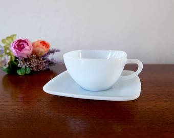 Fire King Charm Azurite Cup and Saucer, Light Blue Milk Glass Tea Cup and Saucer, Anchor Hocking, FireKingm, Vintage Glassware