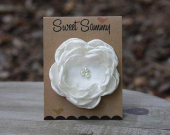 34 Colors Medium Satin Flower Pin, Ivory Cream Satin Flower Pin