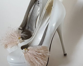 Wedding Bridal Feather Shoe Clips, Feather Shoe Clips, Bridal Shoe Clips, Wedding Shoe Clips,  Shoe Clips for Wedding Shoes Bridal Shoes
