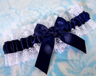 Wedding Garter SINGLE or SET , beautiful  navy and white lace garter