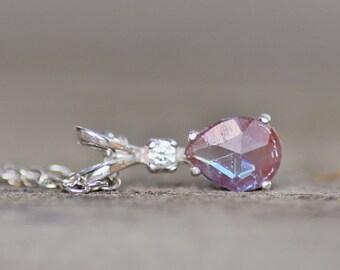 GENUINE Victorian Saphiret Pendant Necklace,Tiny Genuine Vintage Saphiret Cabochon,Sterling Silver Filigree Pendant,Pear Teardrop,Antique