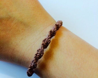 Brown Macrame Hemp Bracelet, Bangle Bracelet, Hemp Jewelry, Adjustable