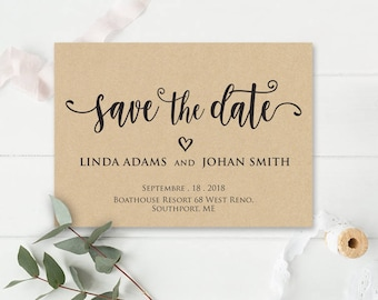 Save the date, Printable Save the date, Save the date template, Invitation Wedding, Microsoft Word Format (docx), Instant Download, Editable