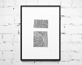 Ink Line Drawing, Digital Download, Print at Home, Black and White Illustration, Modern Art, Printable Poster, Hand drawn, Abstract Art