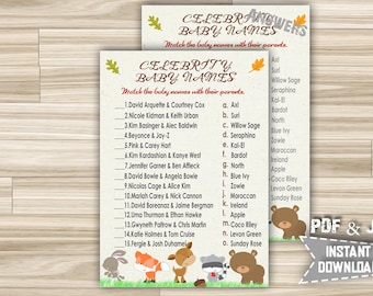 Woodland Animals Celebrity Baby Name Game - Printable Celebrity Baby Shower Game With Forest Animals Theme - Instant Download - w1