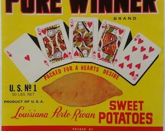 Pure Winner Sweet Potatoes Crate Label Opelousas Sweet Potato Co. Sunset, Louisiana