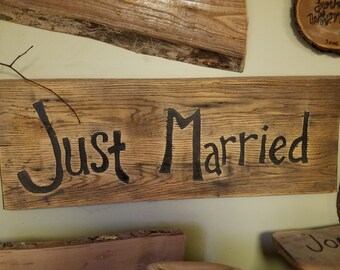 JUST MARRIED Barnwood sign