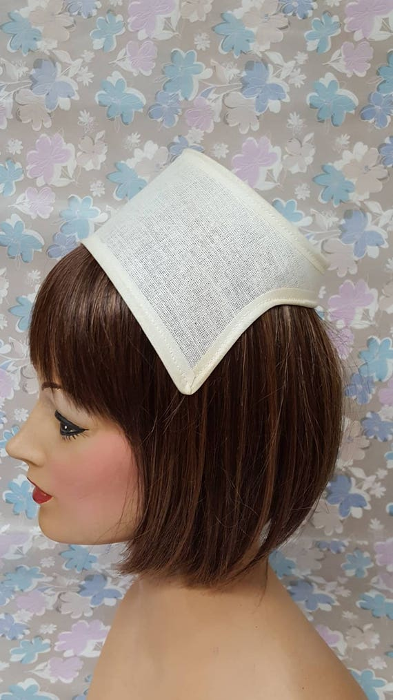 1960\'s Buckram Hat Frame Bonnet Bridal Headpiece Princess