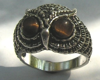 Sterling Silver Owl Ring With Tiger Eye Eyes