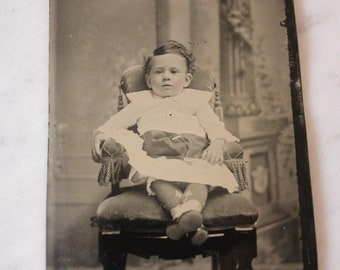 Tintype Photograph of a Seated Baby, Antique from the 1800s, #TT14
