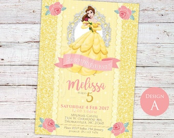 3 Designs to choose from! DIGITAL Beauty and the Beast Invitation, Beauty and the Beast Party, Beauty and the Beast Invitation