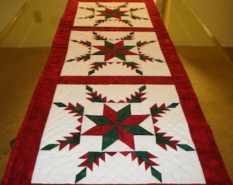 Quilted Feathered Star with LeMoyne Star center Table Runner or Wall Hanging Custom Order
