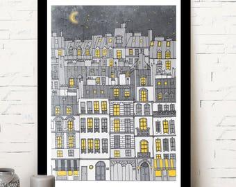 Quai in Paris print, paris homes, Paris illustration, home decor