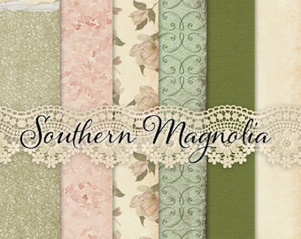 Shabby Chic Southern Magnolia Printable Papers - Journal Papers or Scrapbook Papers - 12x12 - Vintage Floral Illustration Papers - Set of 6