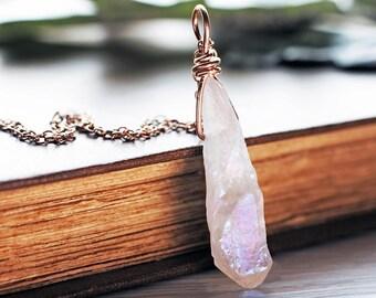 Genuine Rose Gold Quartz pendant | White Angel Aura Quartz necklace | Rose Gold wirewrapped gemstone pendant | Boho raw crystal necklace
