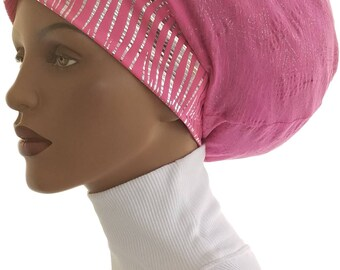 Huggee Locks Beanie™ Hat Cap Slouchy Hat Grey Pink Metallic Silver Cotton Jersey Poly Knit Dreadlocks Rastafari Big Hair Beanie Hat Handmade