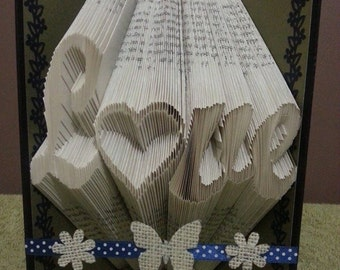 "Book folding Pattern for ""Love"" with an inverted heart as the ""o"" ""Love hollow heart""+FREE TUTORIAL"