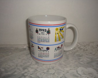 vintage 1993 calender month ceramic stoneware cups mugs home decor