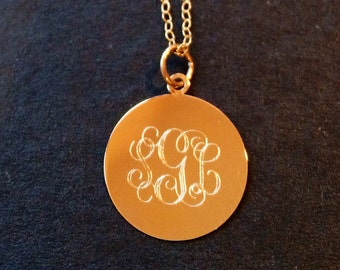14K Gold monogram initials initial id mommy teen circle script customized personalized necklace pendant