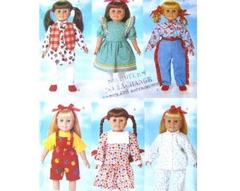 Doll Clothes Pattern Butterick 5295 Six Outfits Accessories Doll Wardrobe American Girl Doll Sewing Pattern Size 18 Inch