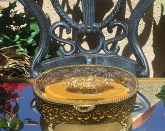 Gold Tone Matson Filigree Casket Trinket Box