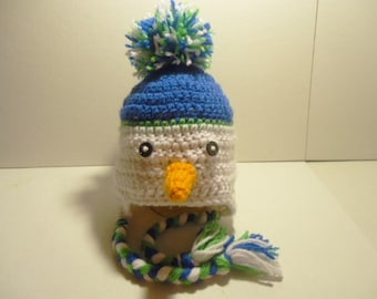 Snowman Earflap Hat for Baby Handmade Crochet Assorted Sizes Photo Prop