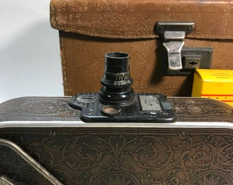 Antique 1920's Bell & Howell Filmo No. 75 Ladies Cine 16 mm Movie Camera with Case and Film