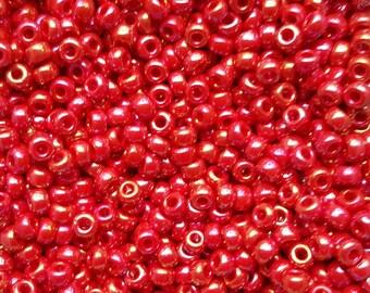 Miyuki 6/0 Japanese Seed Beads - Red AB 6-9408R - 20 grams