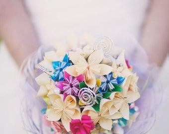 Bouquet mariage fleurs de papier personnalisées origami