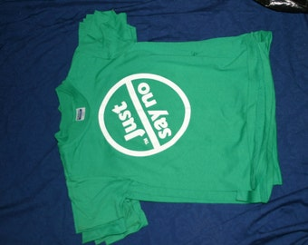 Rare & Retro Child's vintage green 80s JUST SAY NO To Drugs Nancy Reagan t-shirt