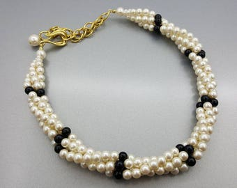 Napier Four Strand Necklace Modern Pearly Choker Necklace Cream  Pearl Black and Gold tone 18 inches