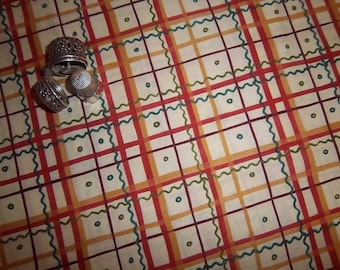 By the Half Yard Marzipan Valentine Plaid Red In the Beginning by Julie Paschkis