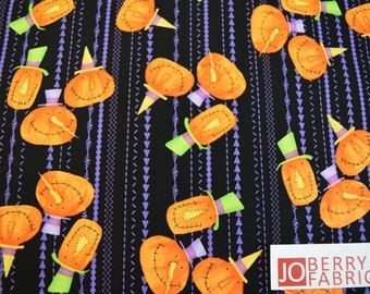 Jack O Laterns from the Hocus Pocus Collection by Deb Grogan for RJR. Quilt or Craft Fabric, Fabric by the Yard