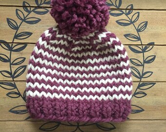 Fair Isle Knit hat, fair isle knit hat w. pom pom, knit winter hat, chunky fair isle knit hat, stripped knit women hat